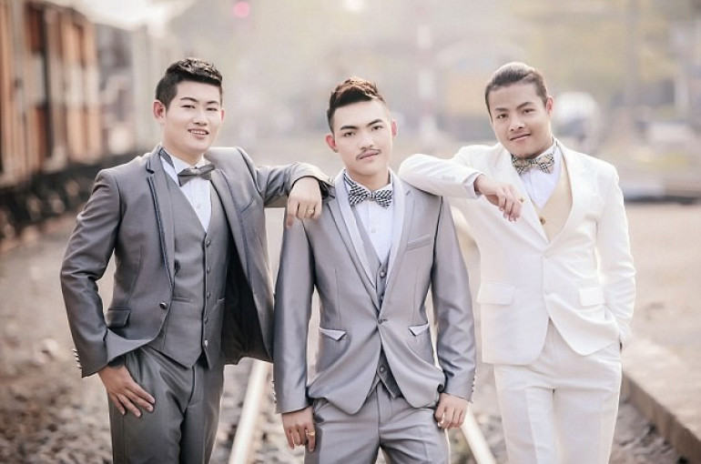 Three gay men from Thailand have tied the knot in what is thought to be the  world's first three-way same-sex marriage, the Daily Mail reported.
