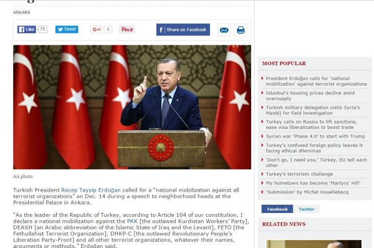 Turkey's Erdogan calls for 'national mobilization' against