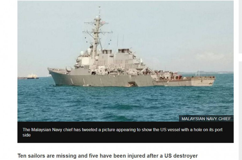 US Navy destroyer collides with oil tanker off Singapore - Armenian