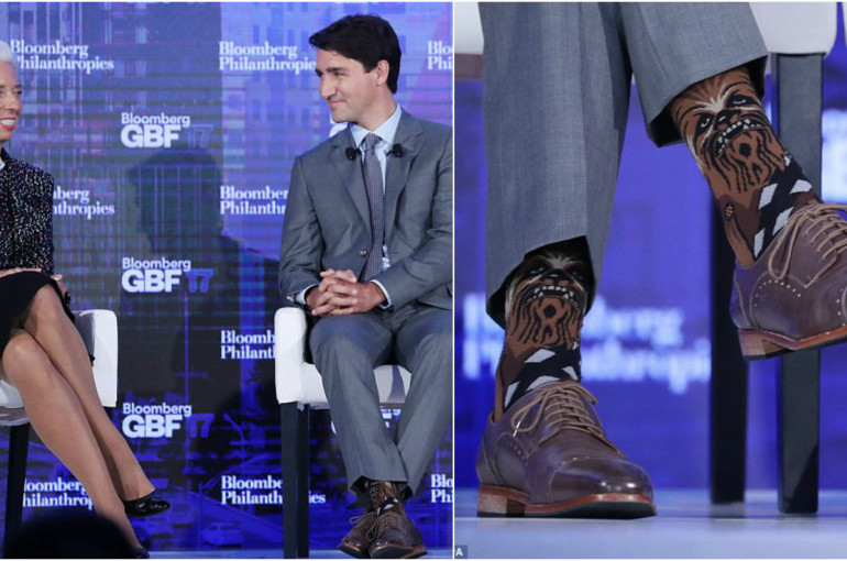 Justin Trudeau sports Chewbacca socks for meeting with IMF