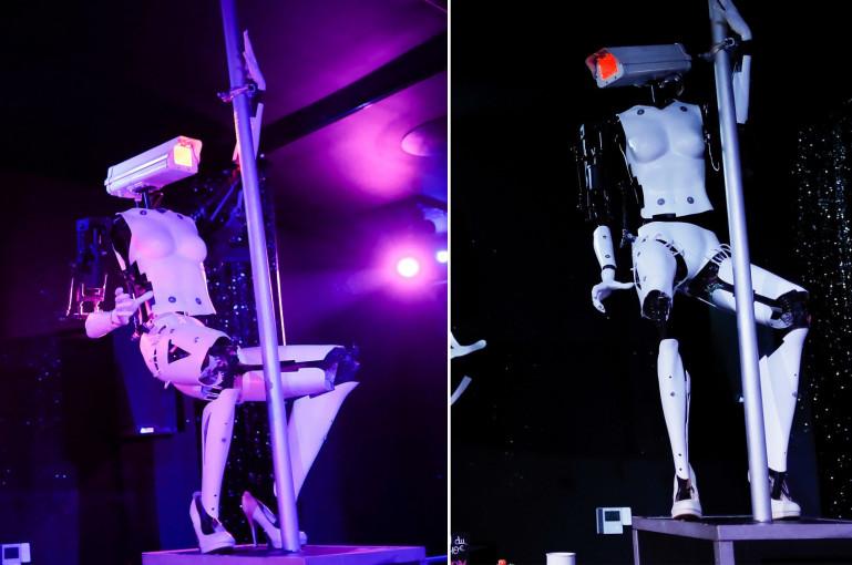 Խելահեղ երաժշտության ներքո «մերկապարուհի» ռոբոտները ելույթ են ունեցել գիշերային ակումբում (ֆոտո)