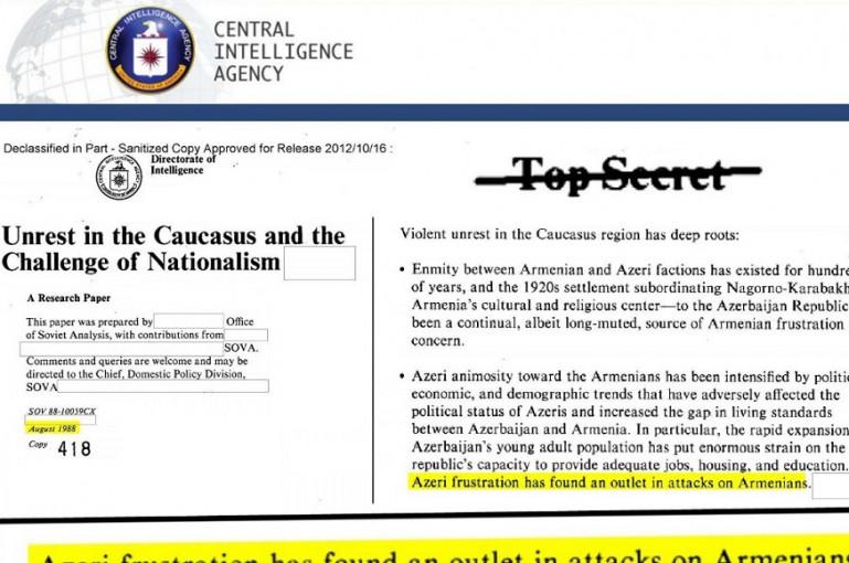 «Արցախը հայերինն է». ANCA-ն հրապարակել է ԿՀՎ գաղտնազերծված փաստաթղթերը Լեռնային Ղարաբաղի մասին