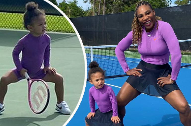 Serena Williams shares photos playing tennis with 2-year-old daughter Olympia