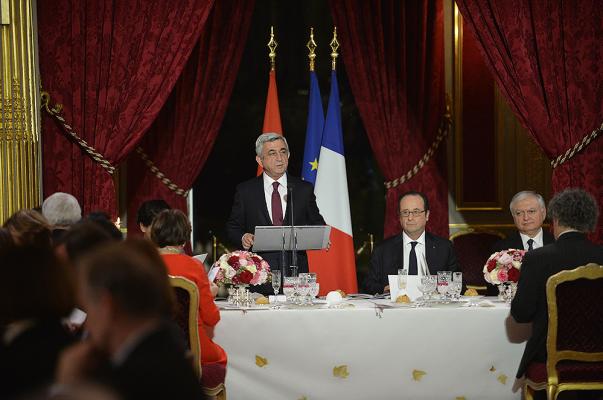 Որքան Ֆրանսիան է Հայաստանի կողքին, նույնքան էլ Հայաստանն է սրտացավ Ֆրանսիայի համար. Սերժ Սարգսյան