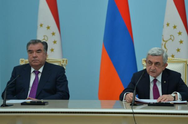 Հայաստանն ու Տաջիկստանը հարաբերությունները կկառուցեն ռազմական գործունեության հիման վրա. նախագահների համատեղ հայտարարությունը