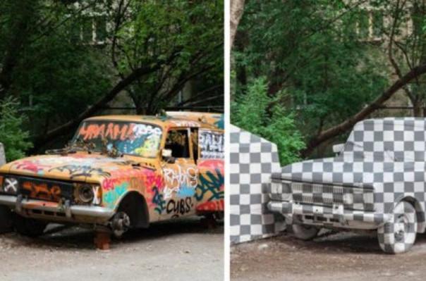 Ռուս նկարիչները ներկերով «հեռացրել» են փողոցի ավտոմեքենան ու աղբարկղը (լուսանկարներ)